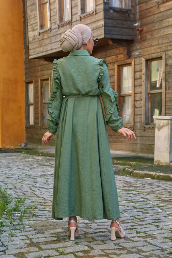 Fırfırlı Elbise Haki