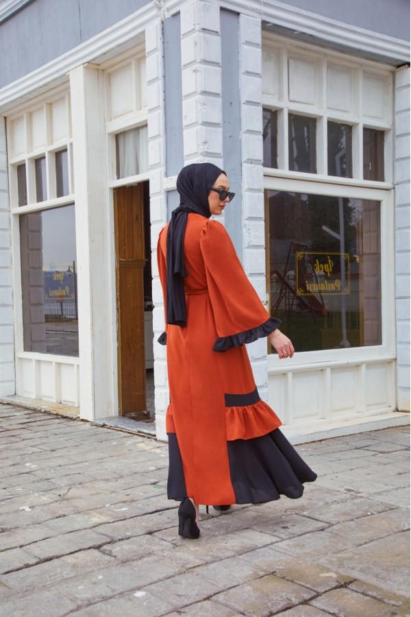 Çift Renk Ayrobin Elbise Kiremit
