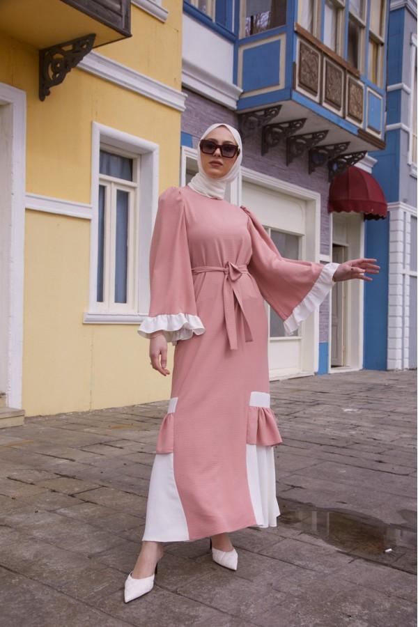 Çift Renk Ayrobin Elbise Pudra