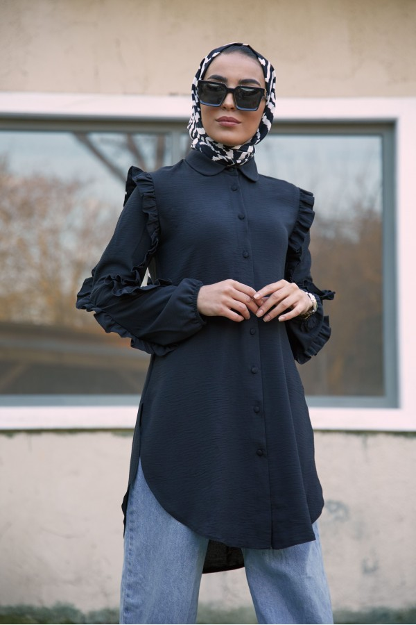 Fırfırlı Tunik Siyah
