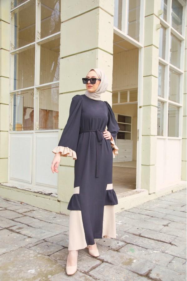 Çift Renk Ayrobin Elbise Siyah